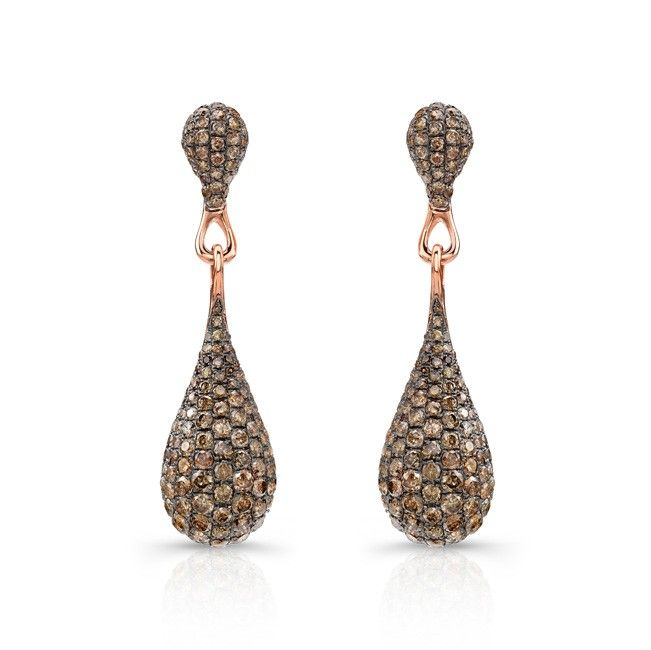 18k Rose And Black Gold Brown Diamond Drop Earrings Jewelry Pinterest