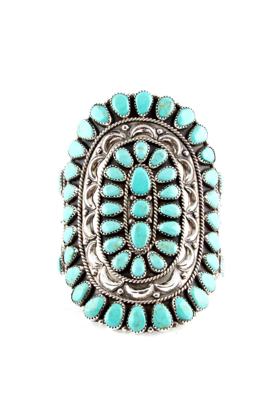 Navajo Indian Traditional Sterling Silver Turquoise Cluster Bracelet Mathilda...