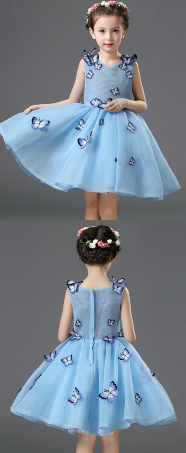 Ball Gown V-Neck Blue Flower Girl Dress with Butterfly | Blue flower ...