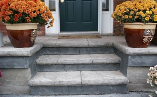 Stamped Concrete Steps Front