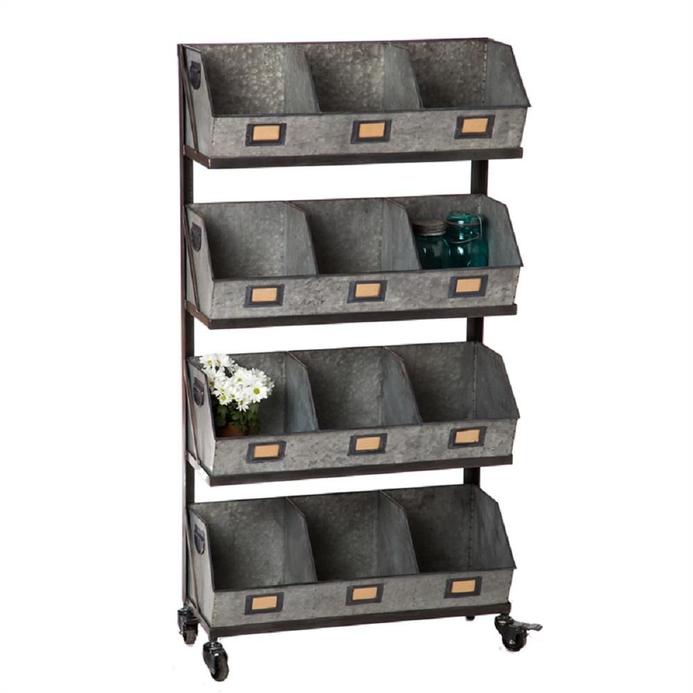 Cape Craftsman Large 12 Metal Storage Bin With Black Display Rack Grey