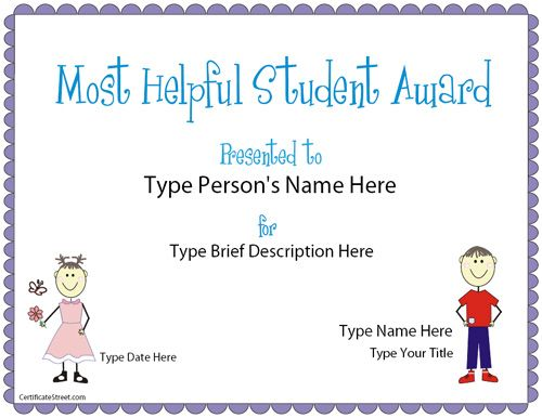 Education Certificate Most Helpful Student Award – Student Certificate Templates
