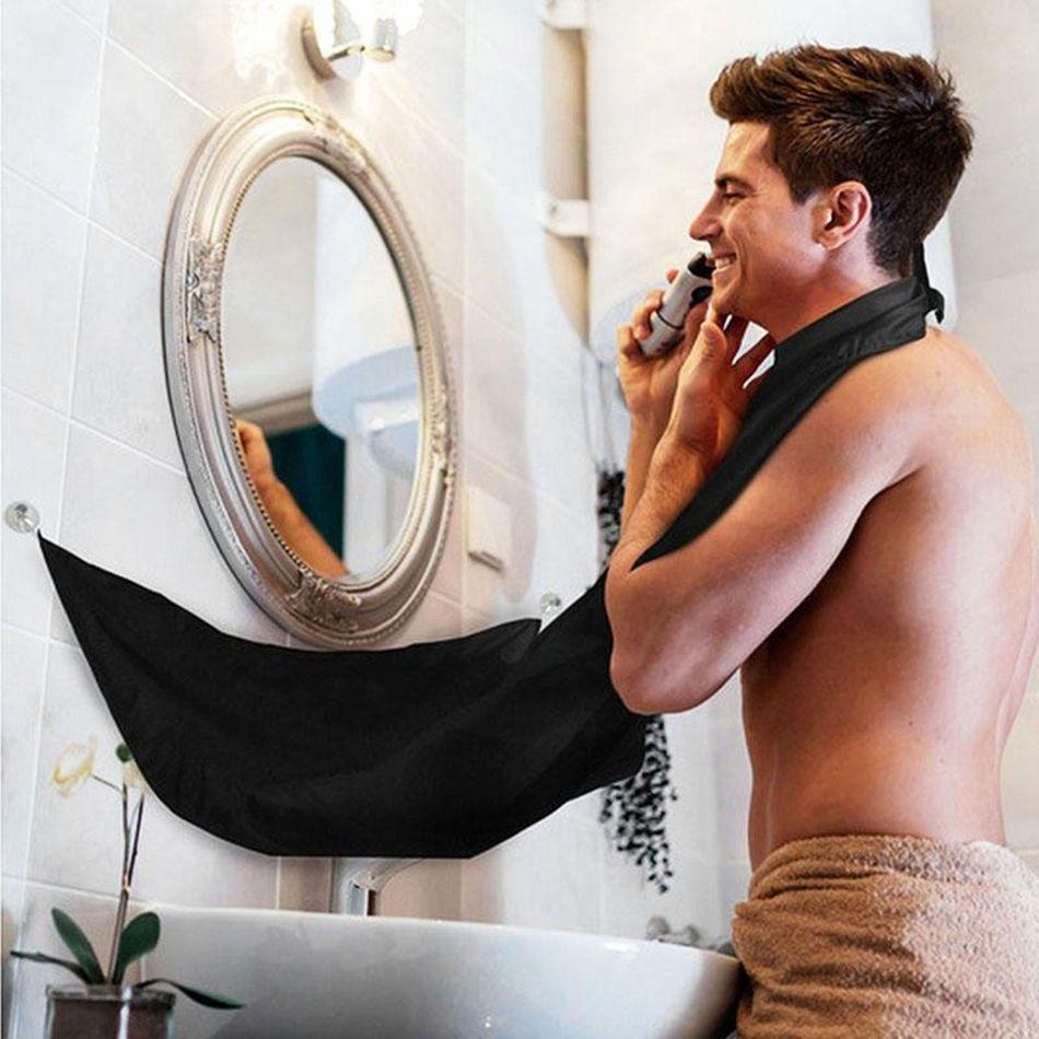 Mann Bad Schürze Schwarz Bart Pflege Trimmer Haar Rasieren Schürze für Mann Wasserdicht Blumen Tuch Haushalt Reinigung Schutze