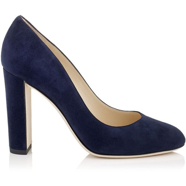 34bb28bc8 Navy Suede Round Toe Pumps with Chunky Heel ($1,100) ❤ liked on Polyvore  featuring
