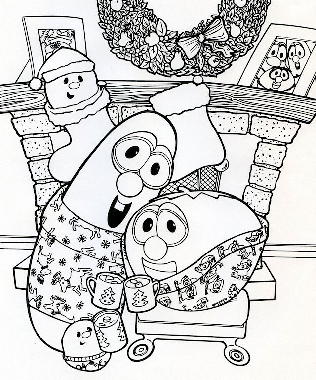 Larry And Bob Christmas Coloring Page With Images Veggie Tales