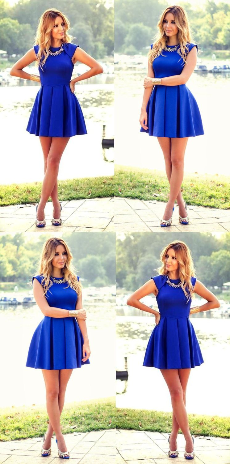 Aline jewel cap sleeves short royal blue satin homecoming dress