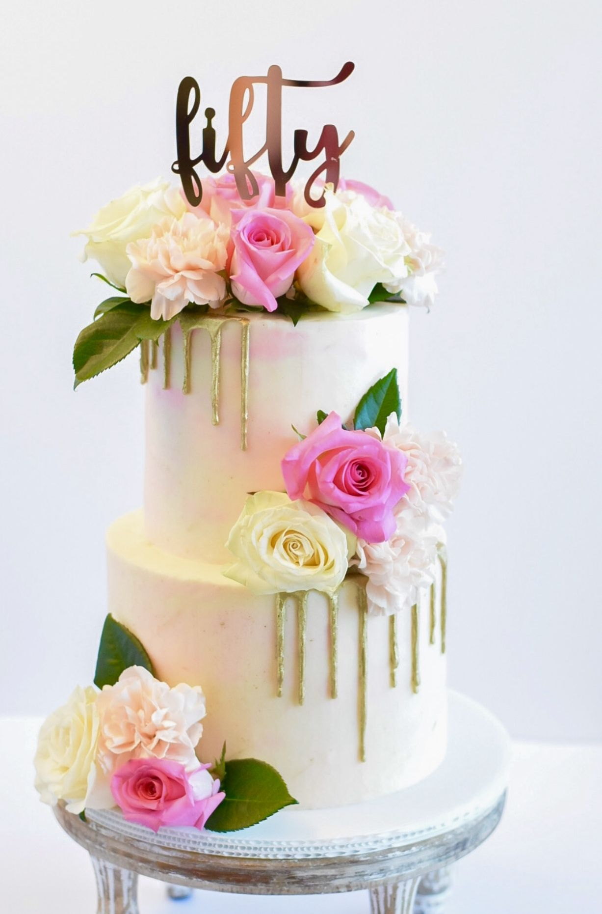 Gold Drip Cake With Fresh Flowers 50th Birthday Cake Rose Gold Cake Topper In 2020 Fresh Flower Cake Rose Gold Cake Topper 50th Birthday Cake