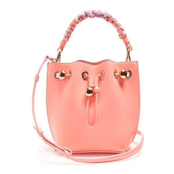 Sophia Webster Romy mini leather bucket bag ($650) ❤ liked on Polyvore featuring bags, handbags, shoulder bags, mini bucket bags, bucket shoulder bag, leather bucket purse, leather purses and leather bucket bags