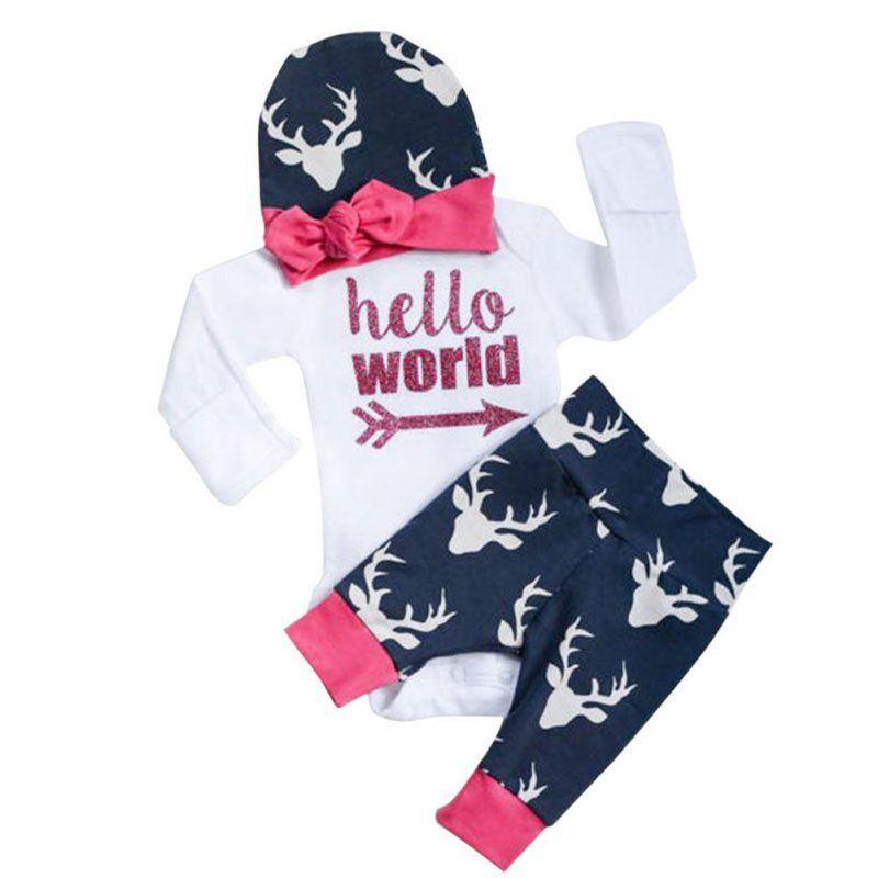 baby jungen m dchen kleidung bebe kleidung set sch ne brief print strampler shirts deer. Black Bedroom Furniture Sets. Home Design Ideas