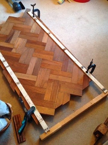 Recycled Hardwood: Parquet Table. | Upcycled Pallets