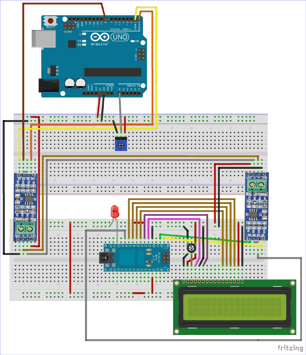 Rs485 Serial Communication Between Arduino Uno And Arduino Nano Arduino Communication Electronics Projects