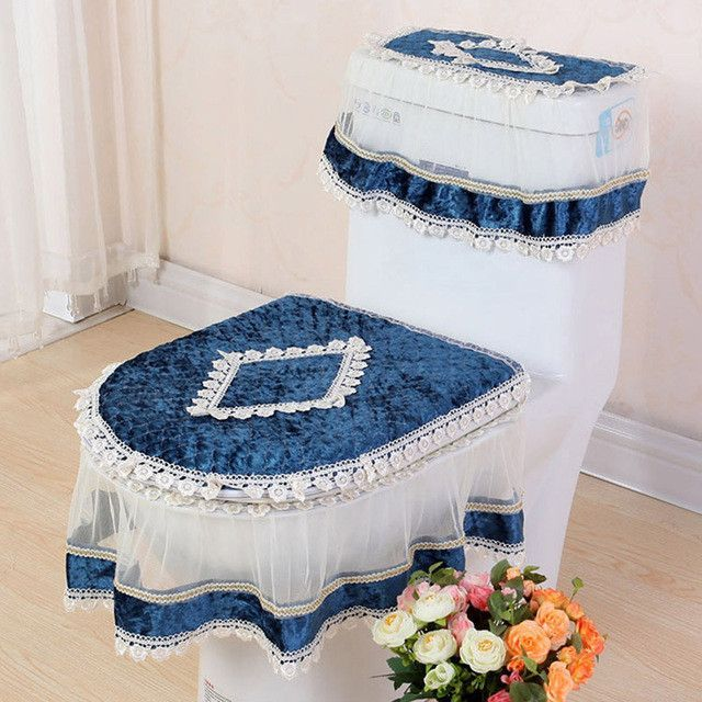 High Grade Lace Threepiece Set Toilet Seat Cover Ushaped - Bathroom and toilet mats for bathroom decorating ideas