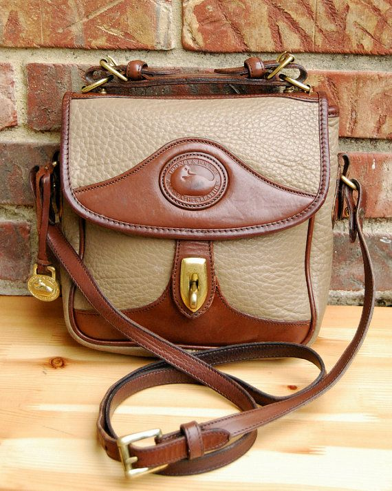 6edf85a5fc Vtg. Dooney   Bourke Two-Tone Taupe Dark Brown Leather Crossbody    AWL  Dooney and Bourke Satchel