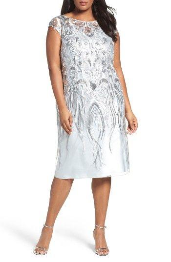 3109ff72afc1f Brianna Embellished Bateau Neck Cocktail Dress (Plus Size)