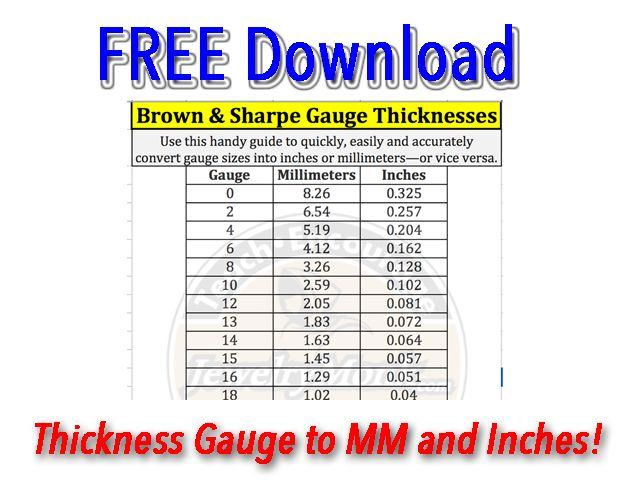 This Free Downloadable Conversion Spreadsheet Will Help You Convert Gauge Sizes Into Inches And Mm Print It Out And Hang It By You Chart Make It Simple Opt In