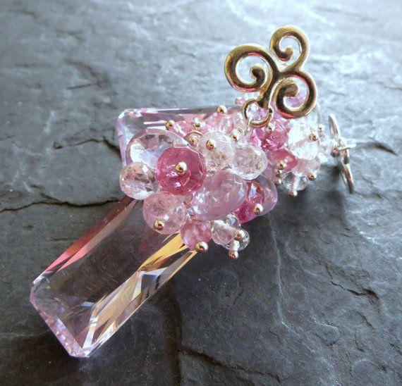 Topacio rosa Pendientes plata post estilo por seafairiesjewelbox