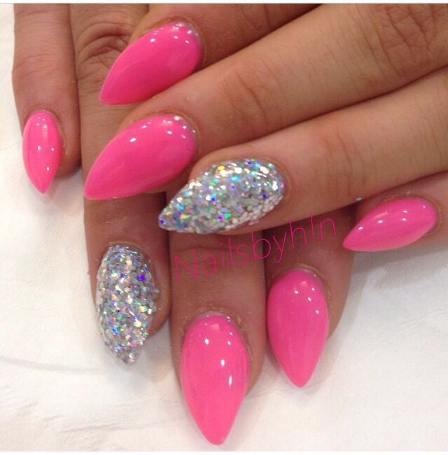 Stiletto Hot Pink Nail With Silver Accent Pink Stiletto Nails Pink Gel Nails Pink Acrylic Nails