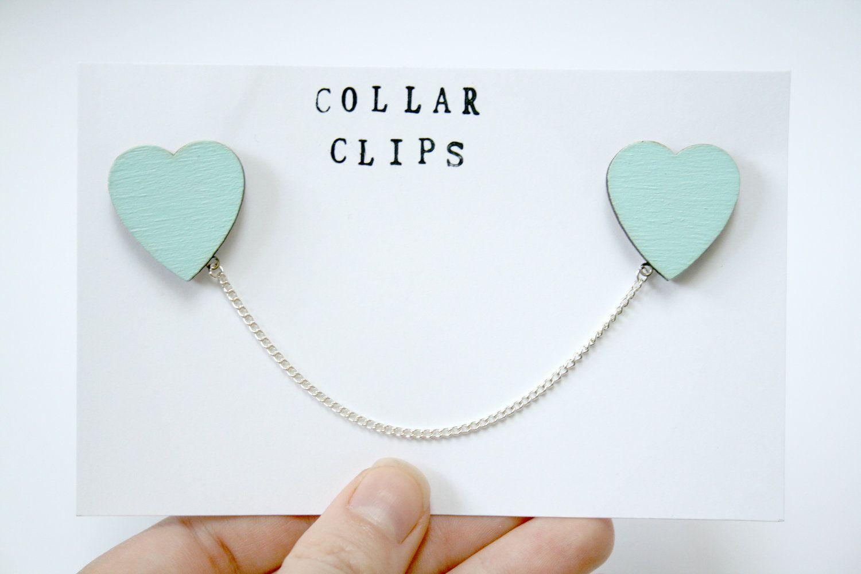 Mint Green Heart Wooden Collar Clips. £7.00, via Etsy.