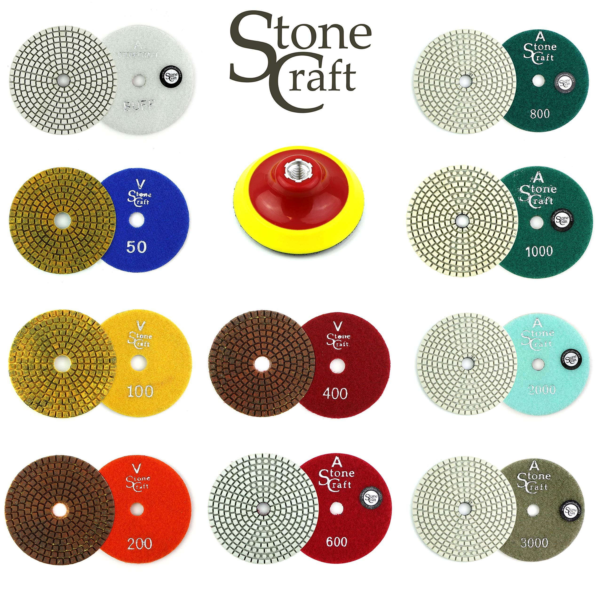 Stonecraft Diamond Polishing Pads 4 Inch Wet Dry 11 Piece Set With White Buff Foam Backing Pad For Granite Marble Concrete Marble Granite Concrete Granite