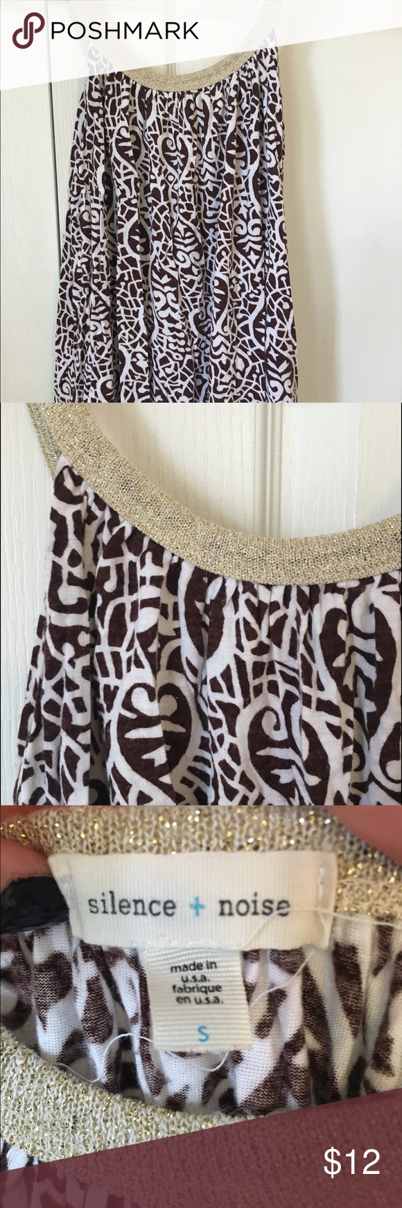 Silence + Noise Flowy Tank Brown and white patterned tank with gold detailing at neckline. Flowy, great condition! silence + noise Tops Tank Tops