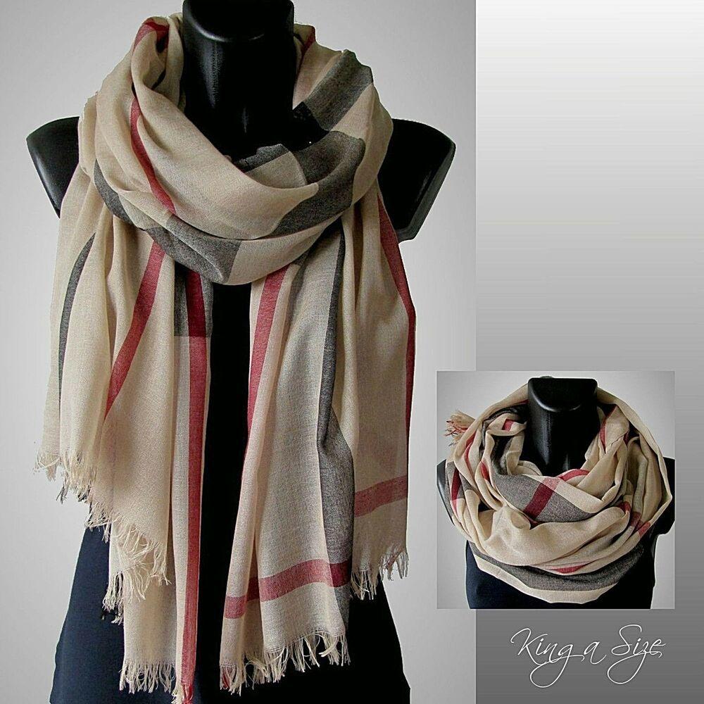3ec12830380568 Damen Schal Scarf Herren-Schal Loop Tuch Halstuch Fransen Karo beige schwarz  rot Rote Kleidung