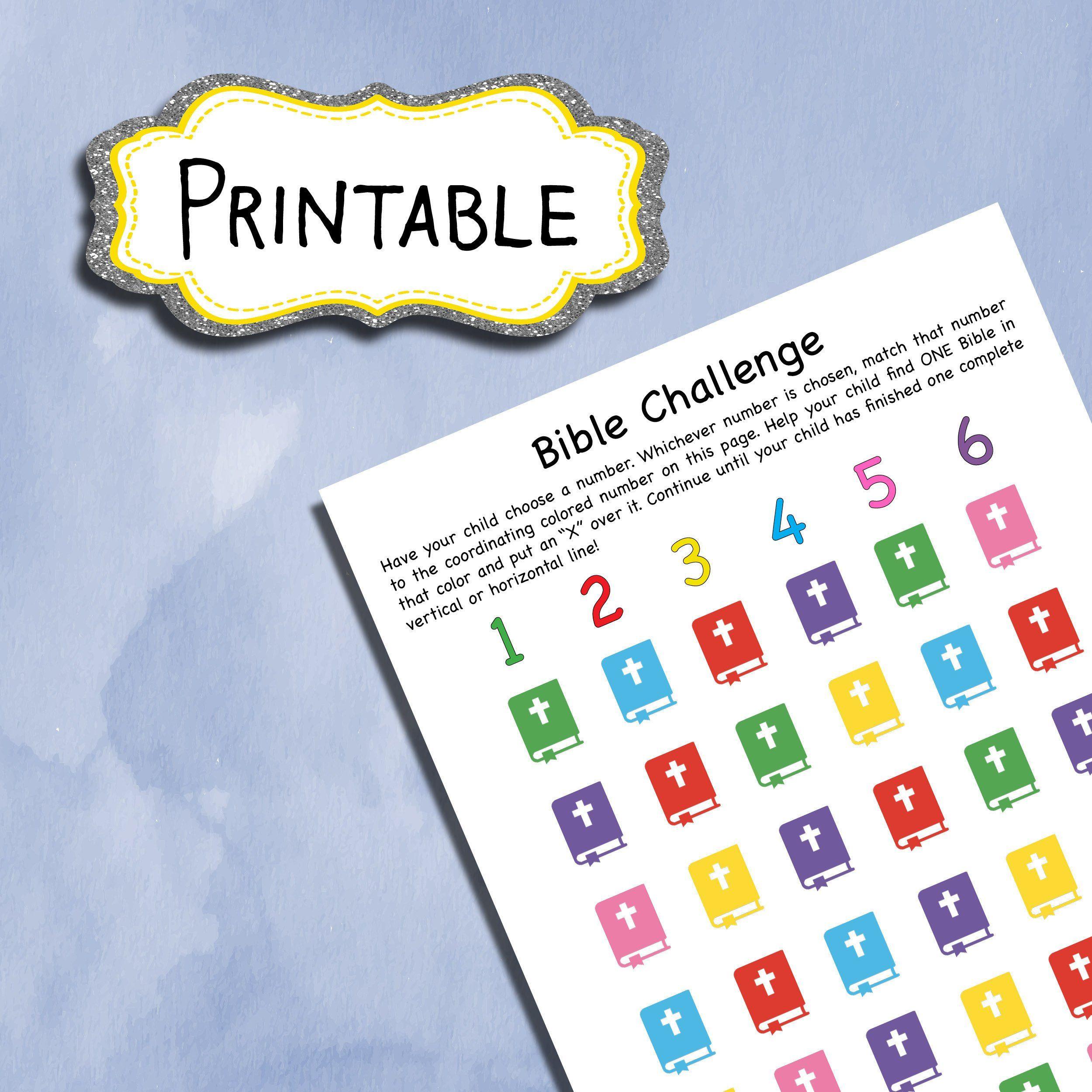 Bible Challenge Printable Worksheet For Kids