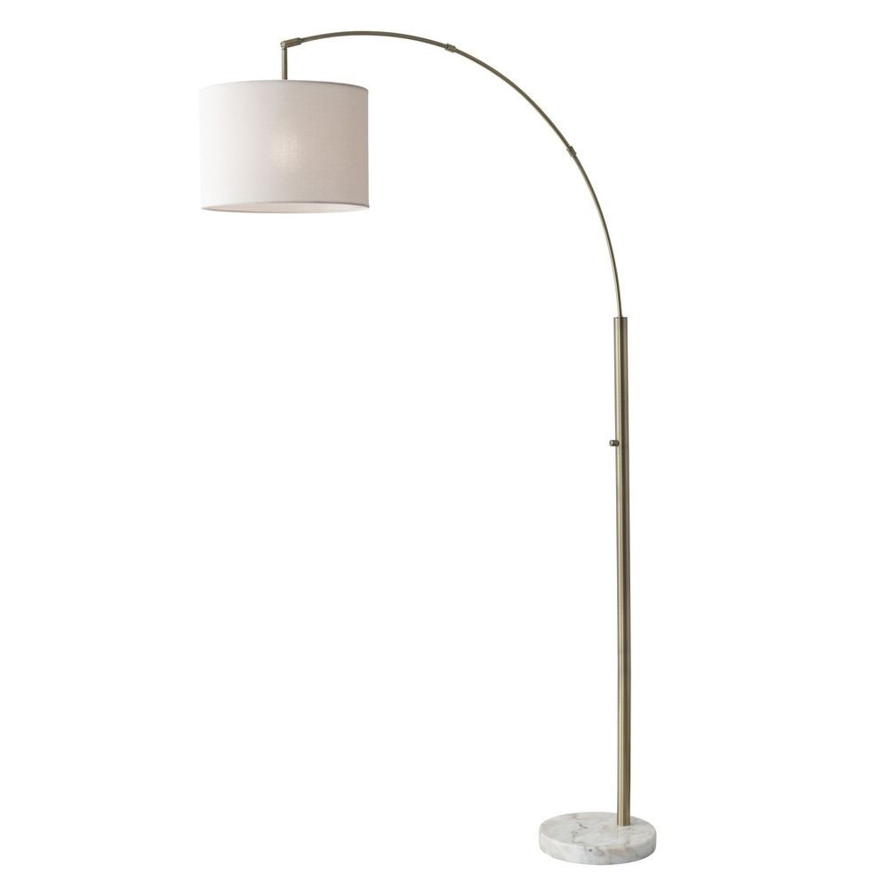Adesso Home Bowery Antique Brass Arc Lamp With Drum Shade Brass Floor Lamp Arc Floor Lamps