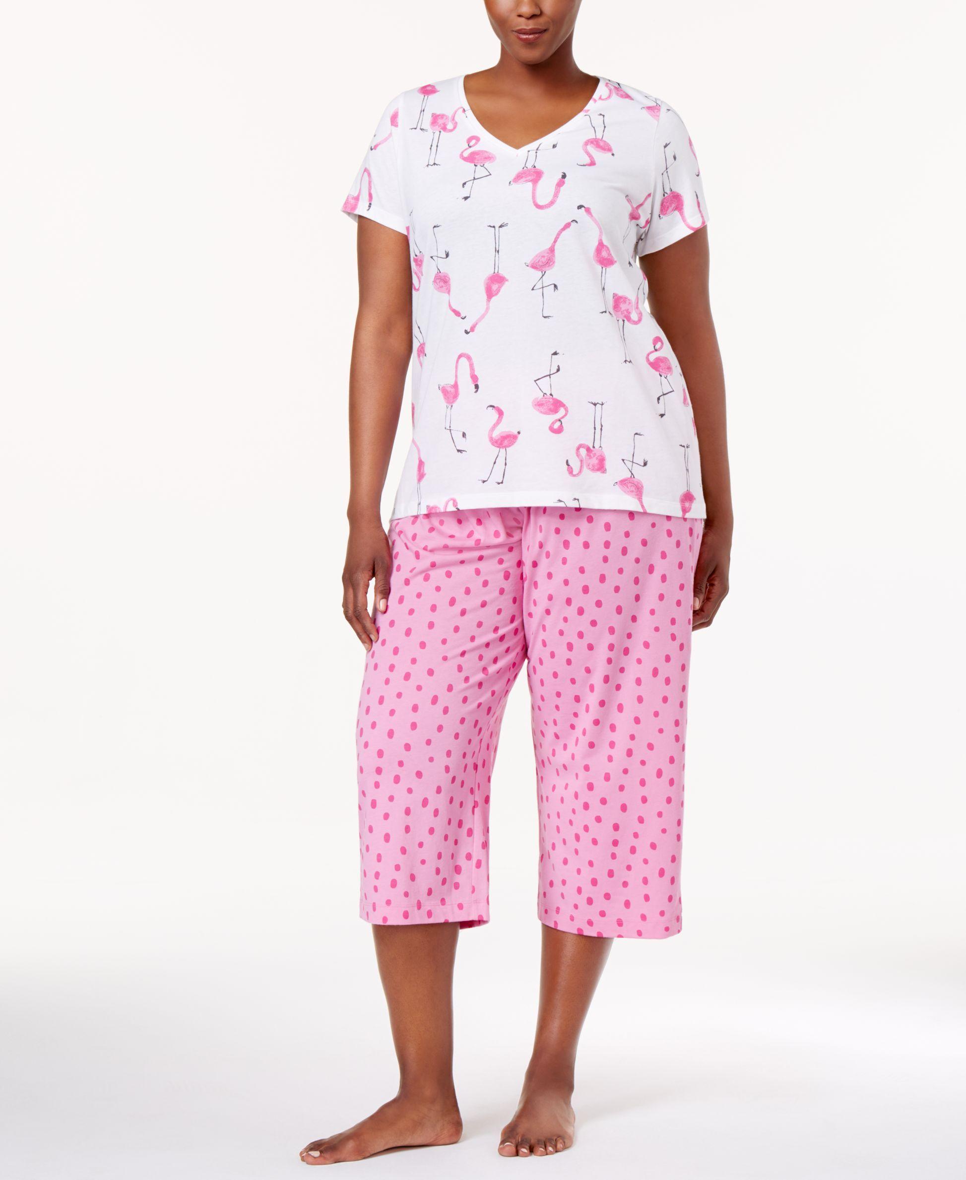 c3316c62d3f Hue Plus Size Printed Top and Capri Pants Knit Pajama Set