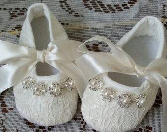 c8ae501218d1 Ivory Baby Crib Shoes and Headband Christening by BingCheriDesigns