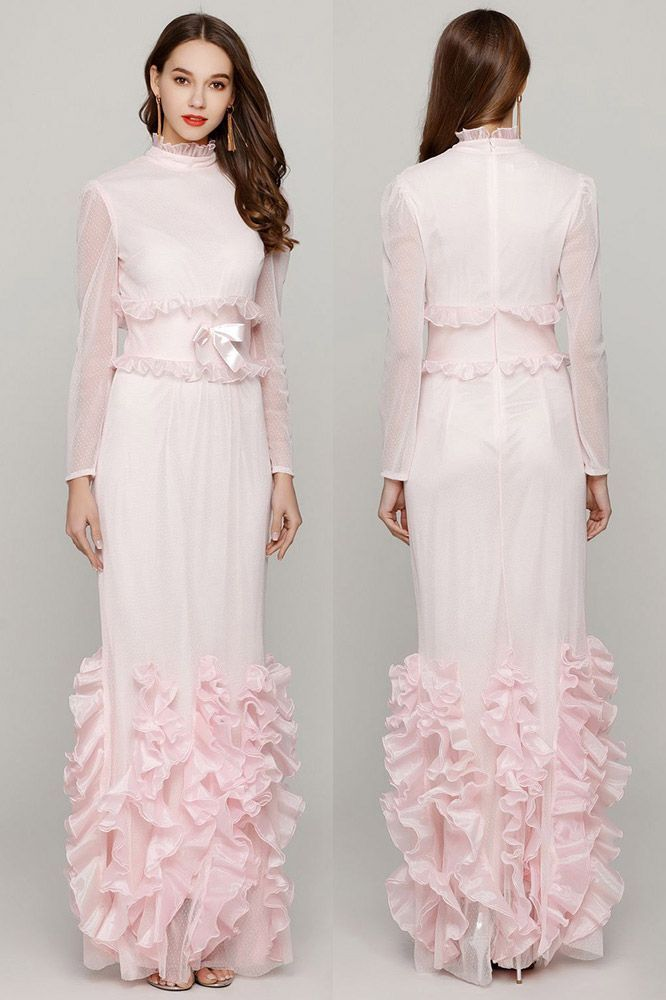 Light Pink Fishtail Fitted Prom Dress With High Neck Long ...