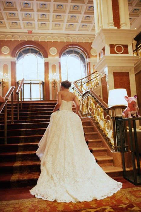No stairs @ venue, but a scene in the hotel would be cute. Hallway or lobby?