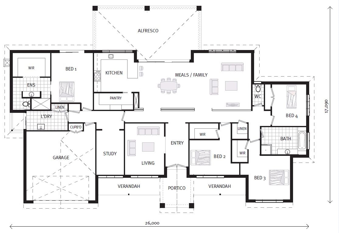 Caspian 347 On Display Home Designs In Gisborne Gj Gardner Homes Gisborne Country Floor Plans 4 Bedroom House Plans House Blueprints