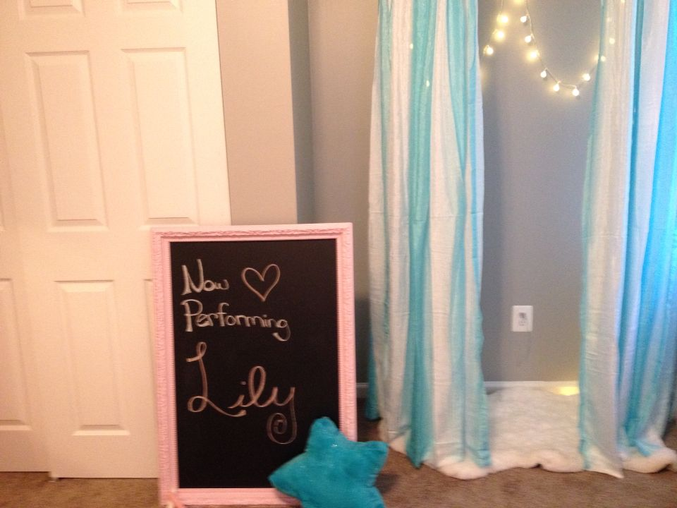 Large frame painted pink with chalk board