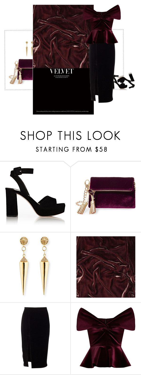"""v e l v e t"" by sharmarie ❤ liked on Polyvore featuring Miu Miu, Steve Madden, Sydney Evan, Soft Surroundings and Emilio De La Morena"