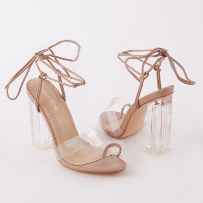 b45ebb8f12b Matcha Clear Perspex Strappy Block Heel In Taupe