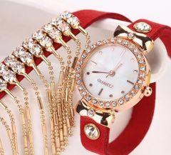 Kirmizi Nubuk Kayisli Zincirli Ve Parlak Tasli Bayan Saat Bayan Saatleri Kemer Bileklik
