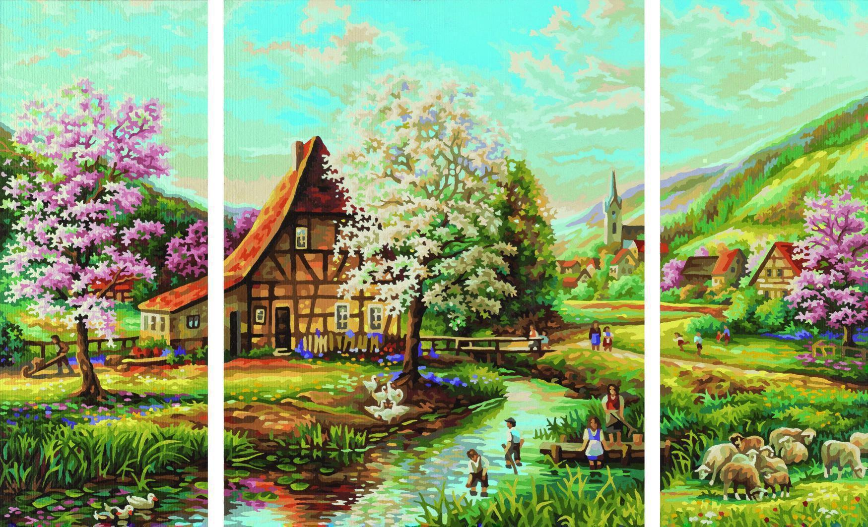 Schipper 609260664 Landliche Idylle Triptychon Malen Nach Zahlen Malen Nach Zahlen Triptychon Gemalde