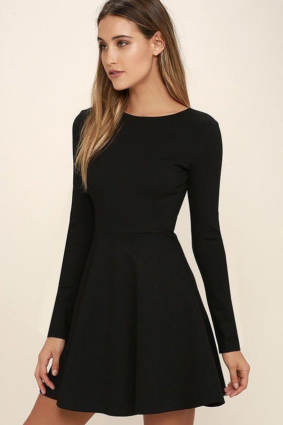 Forever Chic Black Long Sleeve Dress