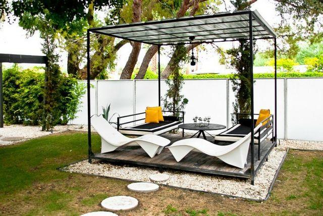 Wohnideen Magazin kleingarten stilvolle terrasse überdachung pergola gartenlaube