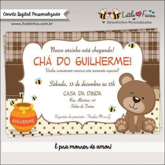 Convite Chá De Bebê Ursinho Para Imprimir Chá De Bebê Comics