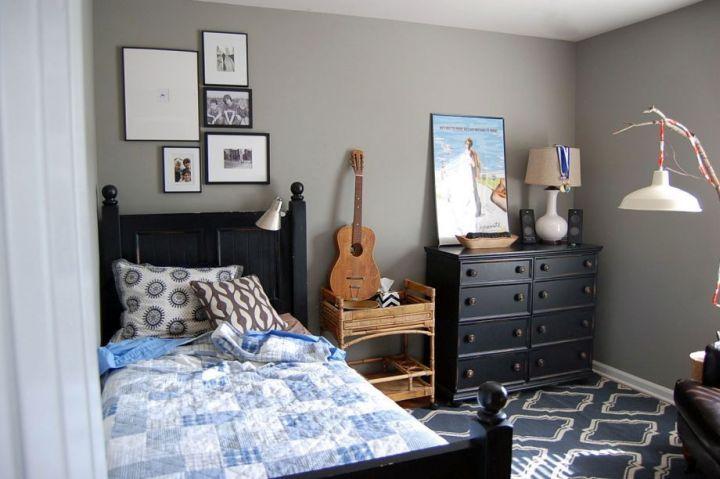 Elegant Boys Room Paint Ideas In Grey With Blue Rug