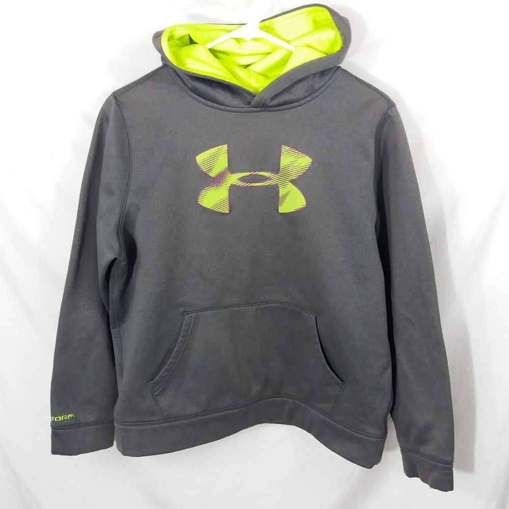 Girls Under Armour Hoodie Youth XL Big Logo Fleece Gray w Neon Green