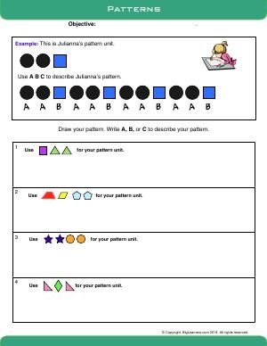 worksheet patterns create and describe repeating patterns 4th grade math pattern. Black Bedroom Furniture Sets. Home Design Ideas
