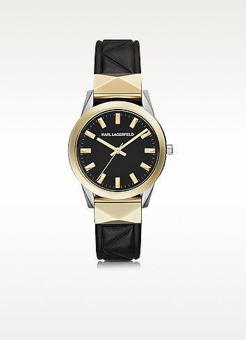 KARL LAGERFELD . #karllagerfeld #labelle stud klassic black and gold women's watch