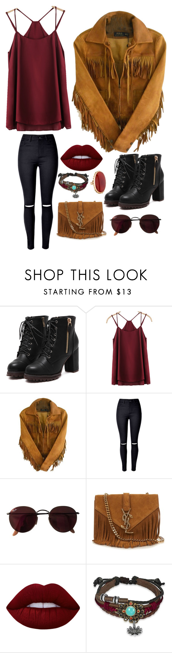 """340"" by minor-inconvenience ❤ liked on Polyvore featuring Polo Ralph Lauren, WithChic, Ray-Ban, Yves Saint Laurent, Lime Crime, Bling Jewelry, cute, fringe, Heels and maroon"