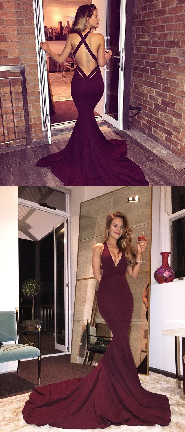Gorgeous vneck long mermaid prom dress with train from modsele