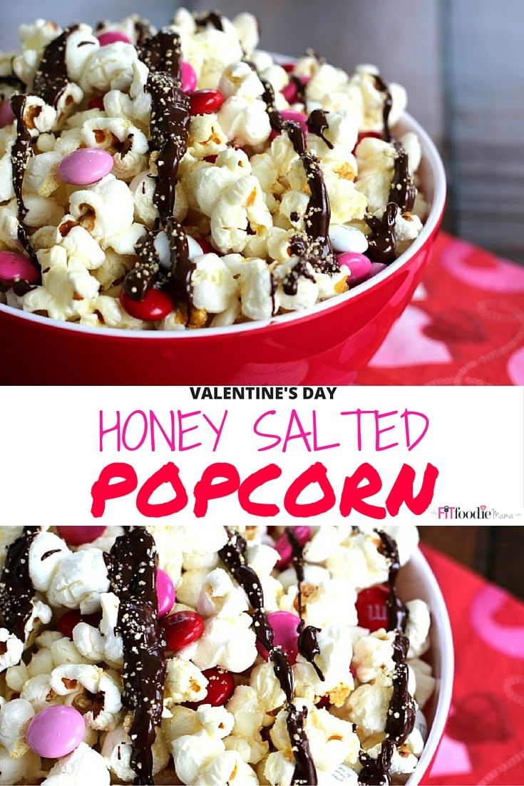 Valentine's Day Inspired Healthy Honey Salted Popcorn Recipe. Made with Nektar Naturals Honey Crystals it's the perfect sweet and salty Valentine's Day snack to treat the kids or sweetheart with. #fitfluential TheFitFoodieMama.com #ValentinesDayRecipes
