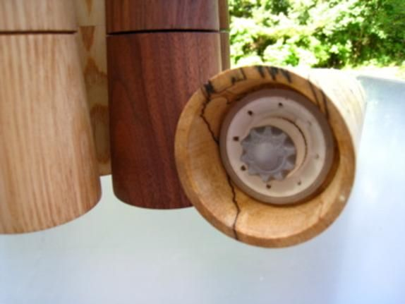 One pair handturned peppermills with CrushGrind mechanism