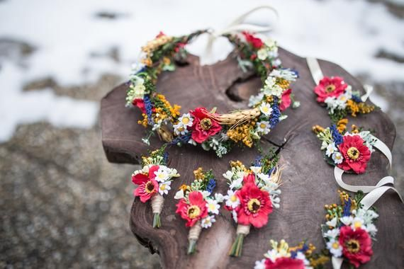 Wedding set Floral hair clip Wedding set Bridal earrings Floral ring peach set Magaela accessories Hair flowers Bridal accessories