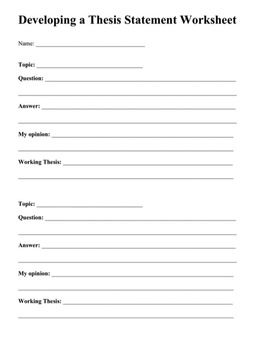 Thesis Statement Worksheet - Thesis Title Ideas For College